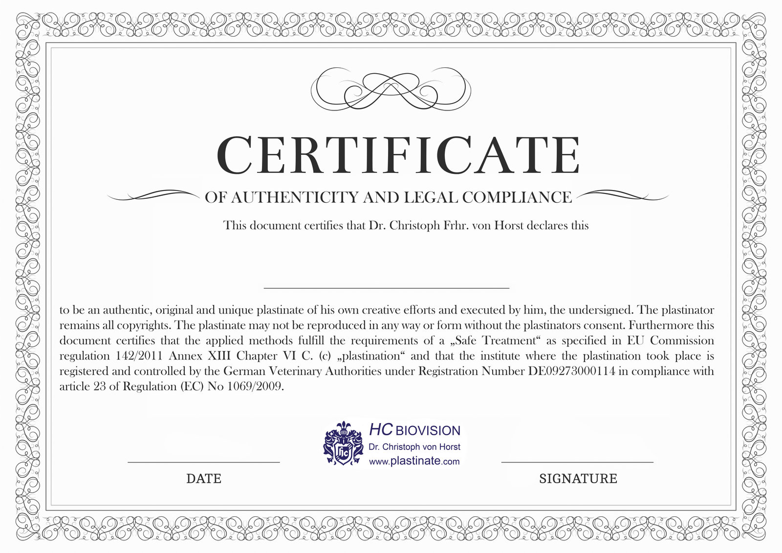 Certificate of authenticity and legal compliance